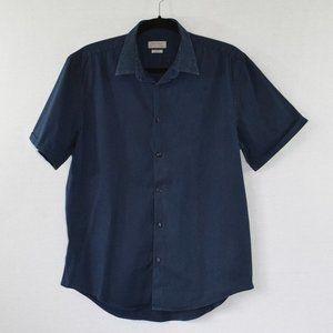 Zara Man Slim Fit Blue Button Down Shirt Size XL